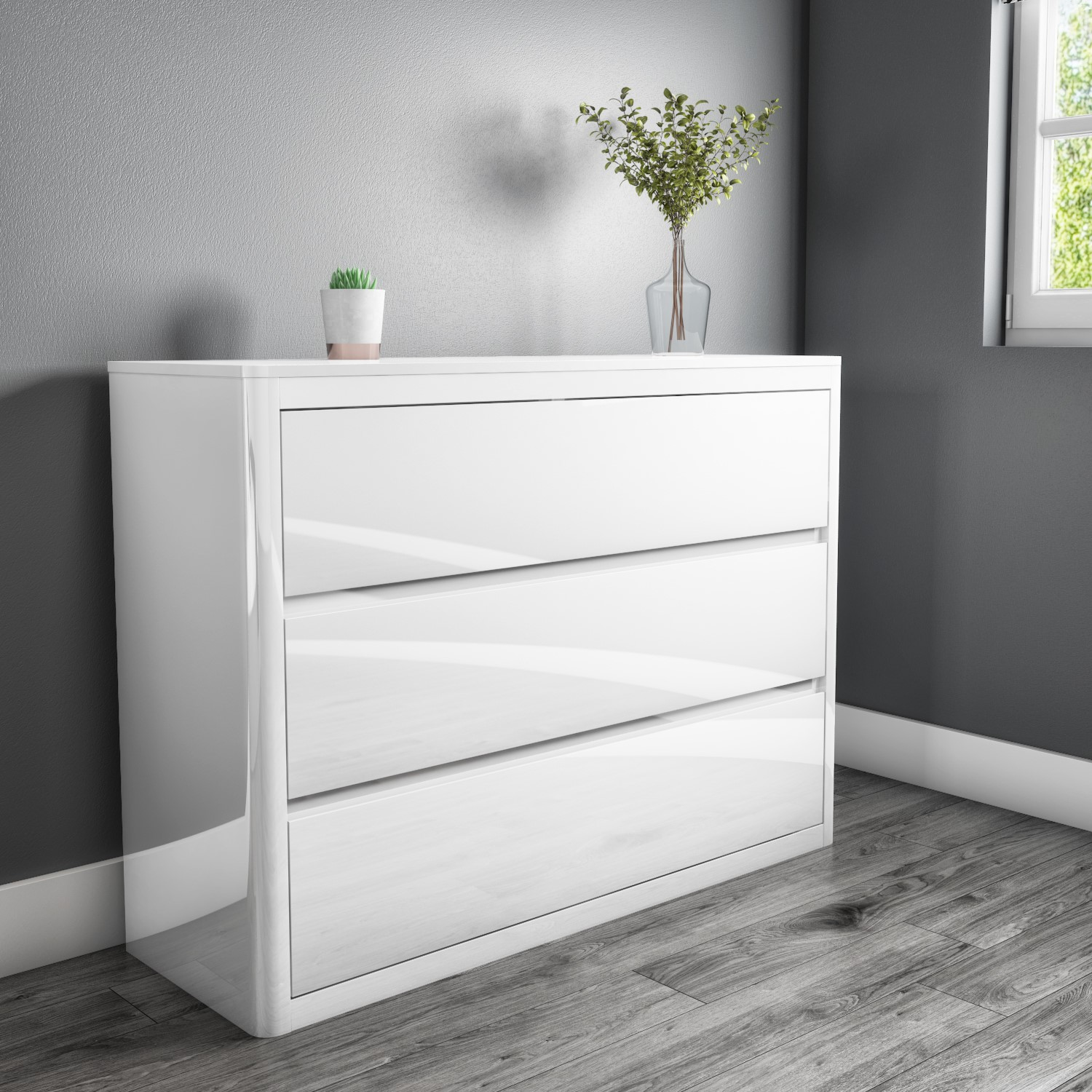 White High Gloss Wide Chest Of Drawers 3 Drawer Bedside