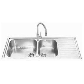 GRADE A2 - Smeg LGM116D Alba 116cm Stainless Steel DB Single Right Hand Drainer Fabric Finish Inset Sink