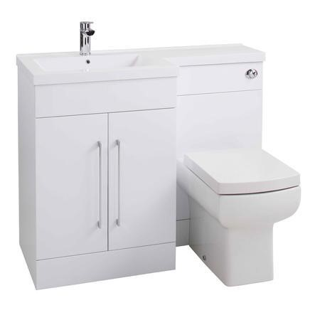 Moderno Gloss White Left Hand Vanity Unit Furniture Suite - Includes Mid Edge Basin only - 1090mm