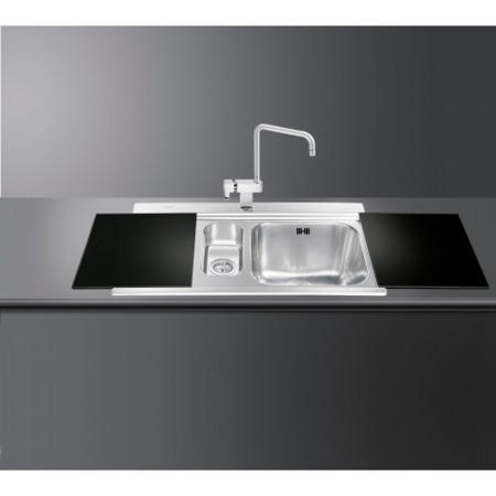 Smeg LI915NS Iris 90cm Stainless Steel 1.5 Bowl Single Left Hand Drainer Inset Sink With Black Glass Chopping Boards