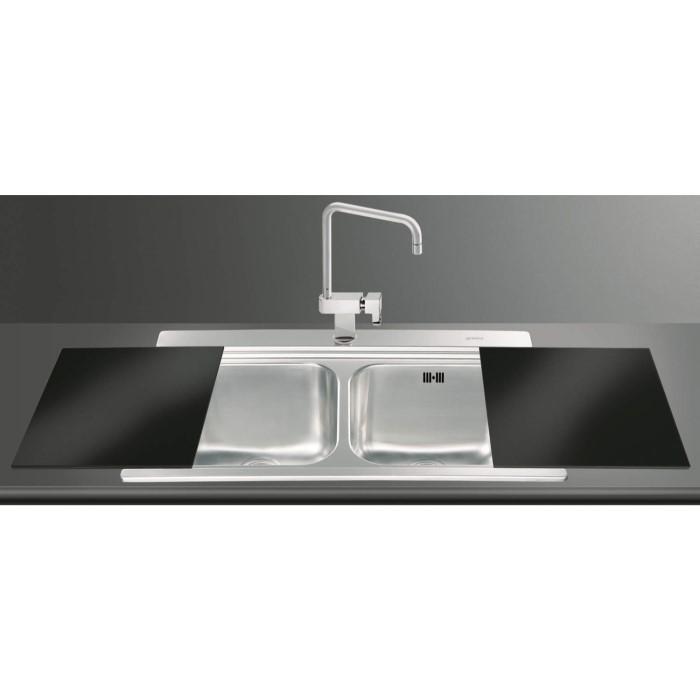 Smeg LI92N Iris 90cm Stainless Steel Double Bowl Inset Sink With ...