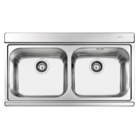 Smeg LI92SG Iris 90cm Stainless Steel Double Bowl Inset Sink With Silver Glass Chopping Boards