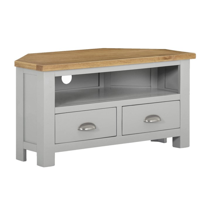 0606da6afc4 Linden Small Corner TV Stand in Grey with Light Oak Top - Farmhouse Style  LIN007