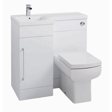 White L-Shaped Basin & WC Unit - W900 x H860mm