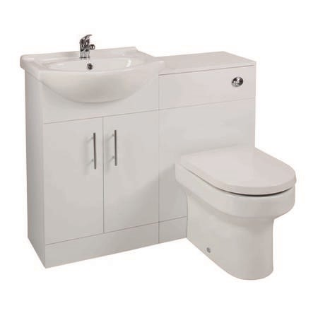 White Left Hand Bathroom Vanity Unit & Basin with Back to Wall Toilet
