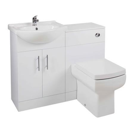 White Bathroom Vanity Unit with Basin & Square Toilet