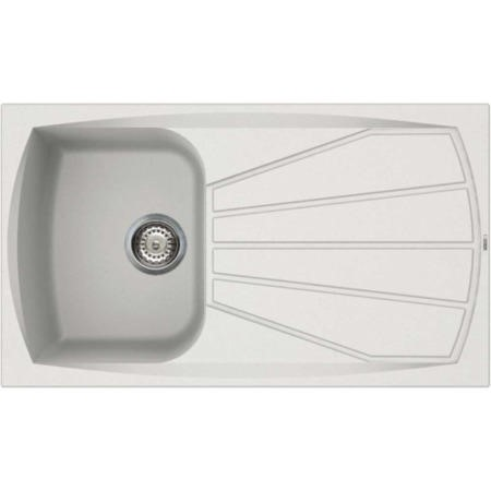 Reginox LIVING400-W 1.0 Bowl Regi-Granite Composite Sink With Reversible Drainer Granitetek White
