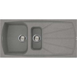 GRADE A1 - Reginox LIVING475-TT 1.5 Bowl Regi-Granite Composite Sink With Reversible Drainer Metalte
