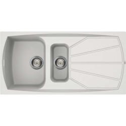 Reginox LIVING475-W 1.5 Bowl Regi-Granite Composite Sink With Reversible Drainer Granitetek White