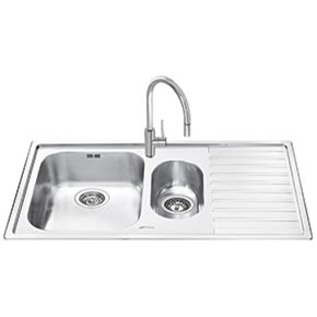 LM102D-2 Smeg LM102D-2 Alba 1.5 Bowl Inset Fabric Finish Stainless Steel Sink With Right Hand Drainer