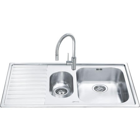 Smeg LL102S-2 Alba 1.5 Bowl Inset Stainless Steel Sink With Left Hand Drainer