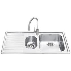 Smeg LM102S-2 Alba 1.5 Bowl Inset Fabric Finish Stainless Steel Sink With Left Hand Drainer