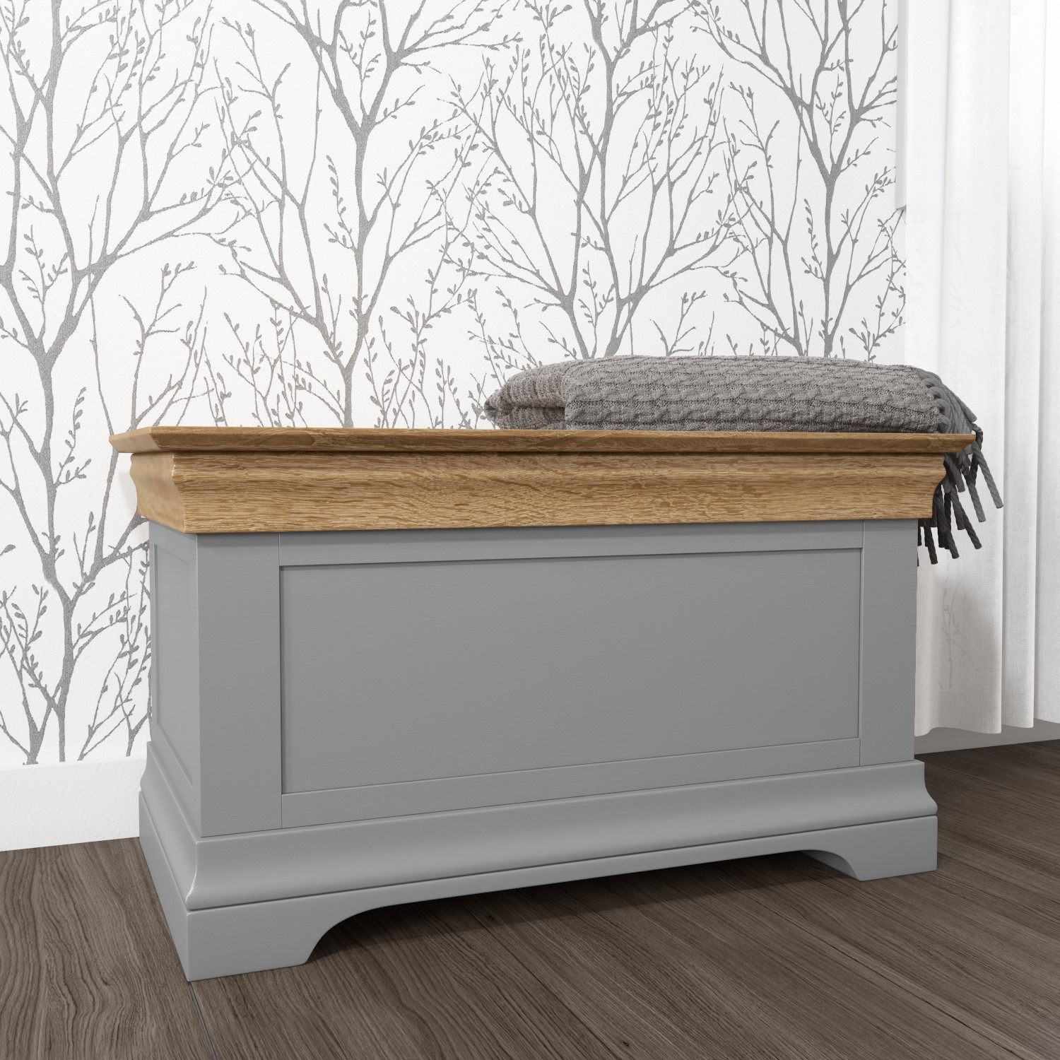 grey blanket box oak top solid wood bedroom storage toy chest cabinet trunk ebay. Black Bedroom Furniture Sets. Home Design Ideas