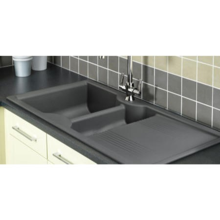 Rangemaster LU9852GW Lunar 985x508 1.5 Bowl Reversible Granite White Composite Sink