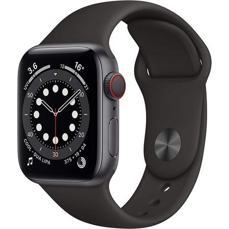 Apple Watch Series 6 GPS + Cellular - 40mm Graphite Stainless Steel Case with Black Sport Band - Regular