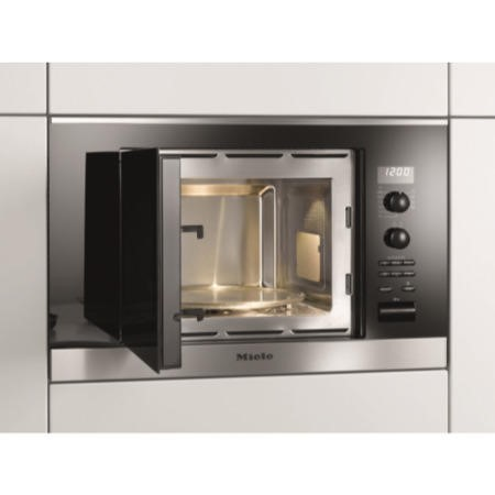 Miele M6032SCclst ContourLine 800W 17L Built-in Microwave with Grill For a 60cm Wide Cabinet - Clean Steel