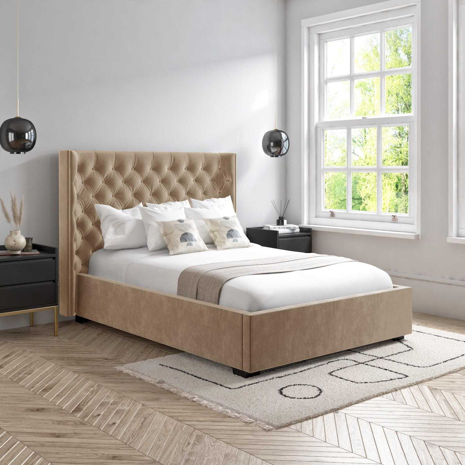 Milania King Size Ottoman Bed In Light Beige Velvet With Curved Headboard Maa006 Ebay