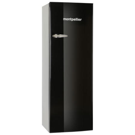 Montpellier MAB340K Retro Tall Freestanding Fridge With Icebox Black