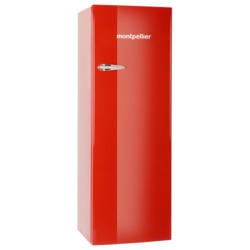 Montpellier MAB340R Retro Tall Freestanding Fridge With Icebox Red