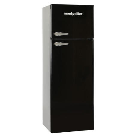 Montpellier MAB345K Retro Top Mount Freestanding Fridge Freezer Black