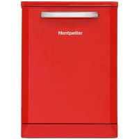 Montpellier MAB600R 15 Place Freestanding Retro Dishwasher With Cutlery Tray - Red Best Price, Cheapest Prices