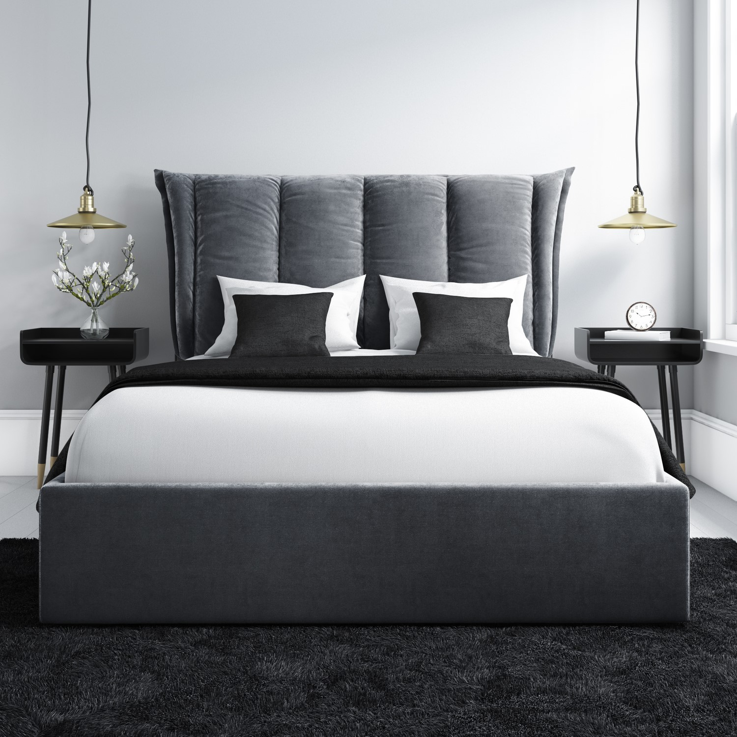 Details About Maddox Double Ottoman Bed With Cushioned Headboard In Silver Grey Velvet Mad001