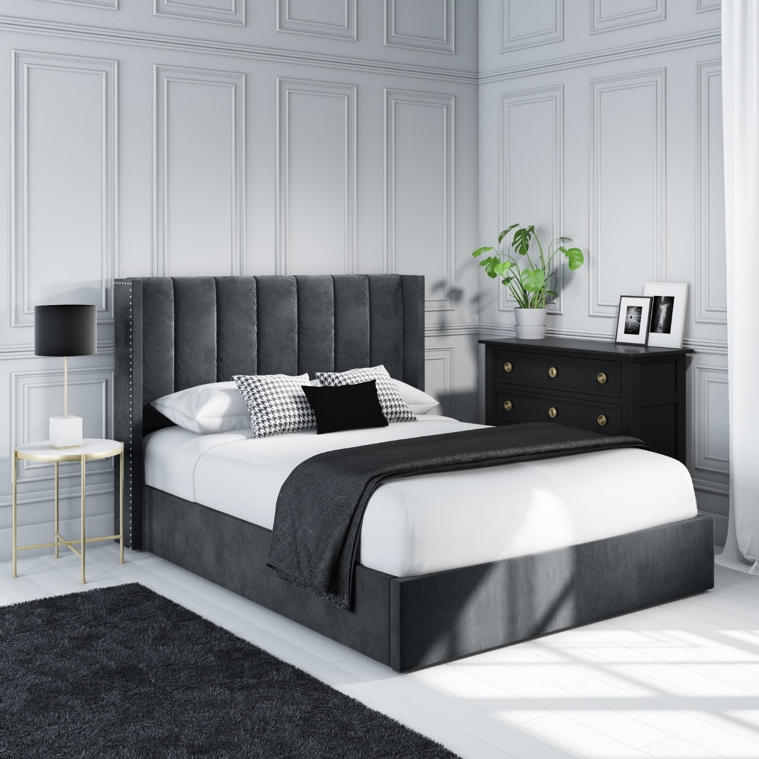 Picture of: Maddox Wing Back King Size Ottoman Bed In Grey Velvet Mad005 Ebay