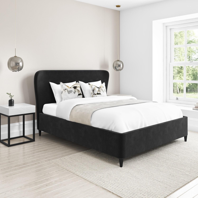 Margot Double Ottoman Bed With Curved Headboard In Dark Grey Velvet Mag003 Ebay