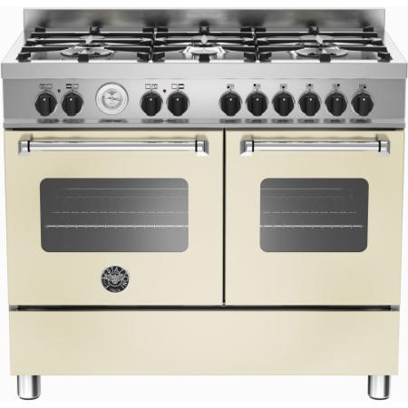 Bertazzoni MAS100-6-MFE-D-CRE Master Series 100cm Dual Fuel Range Cooker With A Double Oven-Matt Cream