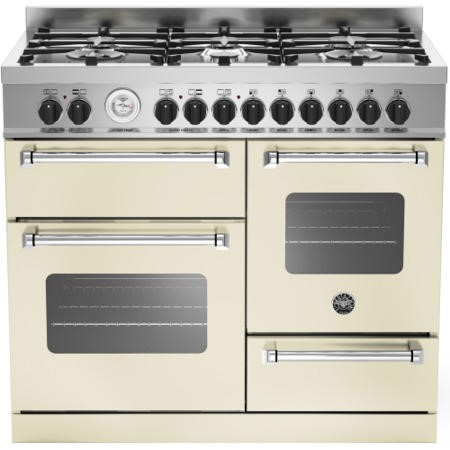 Bertazzoni MAS100-6-MFE-T-CRE Master Series 100cm Dual Fuel Range Cooker With A Triple Oven-Cream