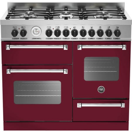Bertazzoni MAS100-6-MFE-T-VIE Master Series 100cm Dual Fuel Range Cooker With A Triple Oven-Burgundy