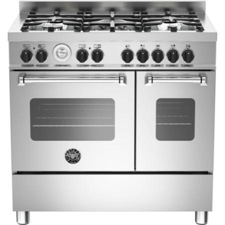 Bertazzoni MAS90-5-MFE-D-XE Master Series 90cm Dual Fuel Range Cooker With A Double Oven-Stainless S