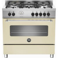 Bertazzoni MAS90-5-MFE-S-CRE Master 90cm Dual Fuel Range Cooker With 5 Burners And 1 Oven Matt Cream
