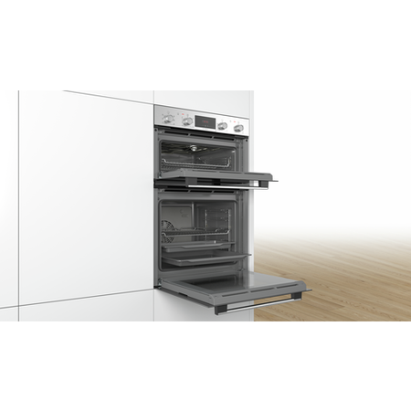Bosch MBS133BR0B Serie 2 Multifunction Electric Built-in Double Oven With Catalytic Cleaning - Brushed Steel