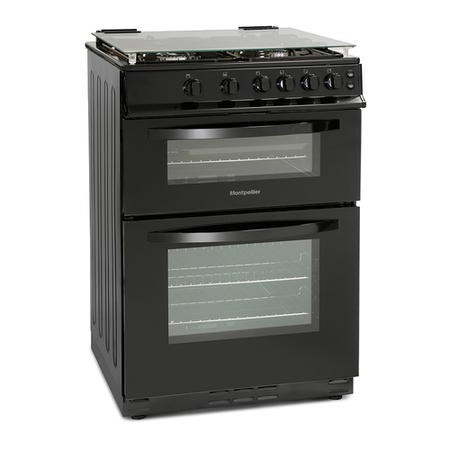 Montpellier MDG600LK 60cm Gas Double Oven With Lid Black - LPG Jets Included