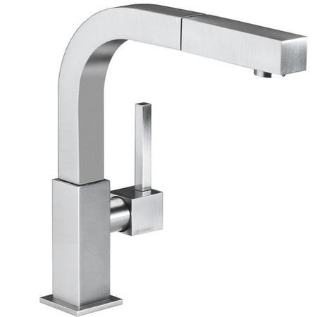 Smeg MDQ5-CSP Brushed Chrome Single Lever Mixer Tap with Square Spout and Pull-Out Spray