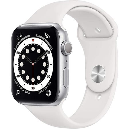Apple Watch Series 6 GPS + Cellular - 44mm Silver Aluminium Case with White Sport Band - Regular