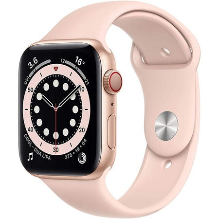 Apple Watch Series 6 GPS + Cellular - 44mm Gold Aluminium Case with Pink Sand Sport Band - Regular