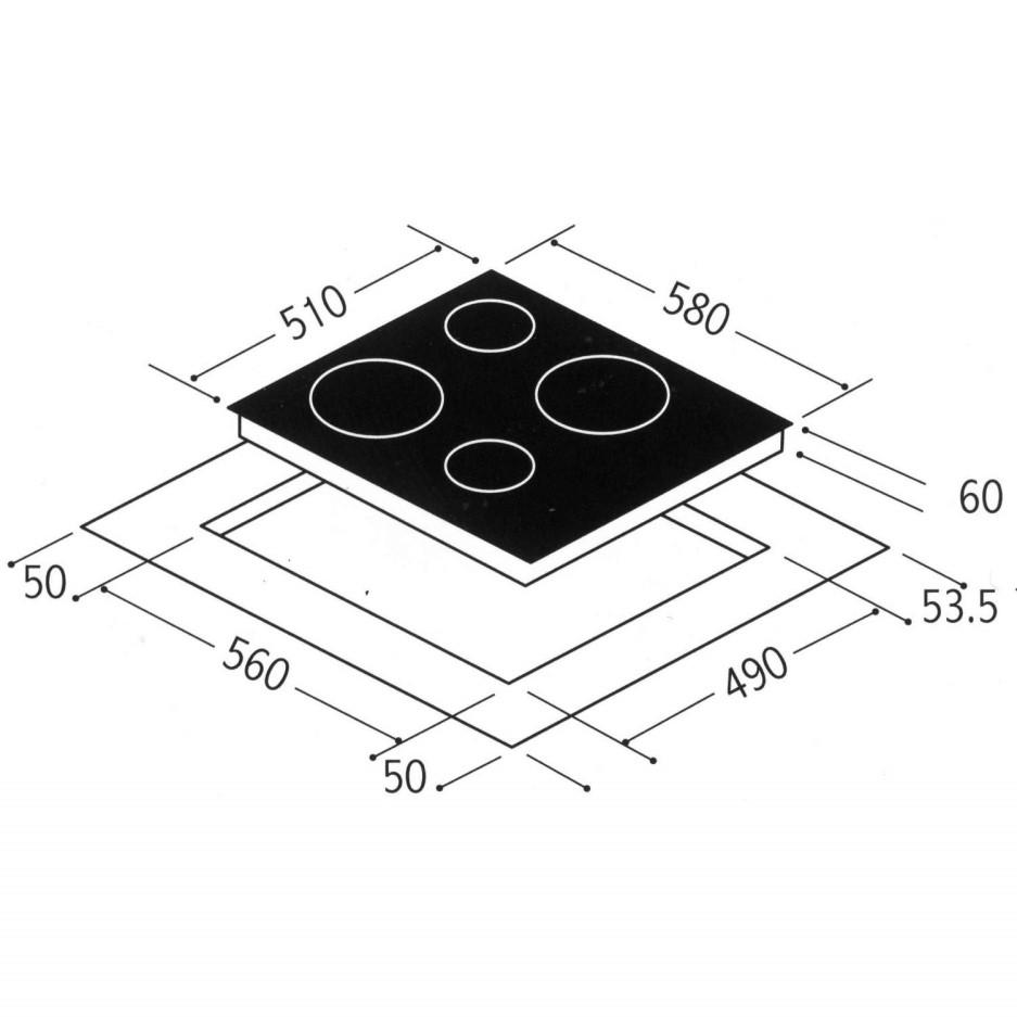 Matrix MHN101FR 58cm Wide Touch Control Four Zone