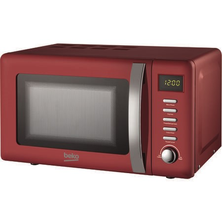 Beko MOC20200R Retro Style 20L 800W Freestanding Microwave Oven - Red
