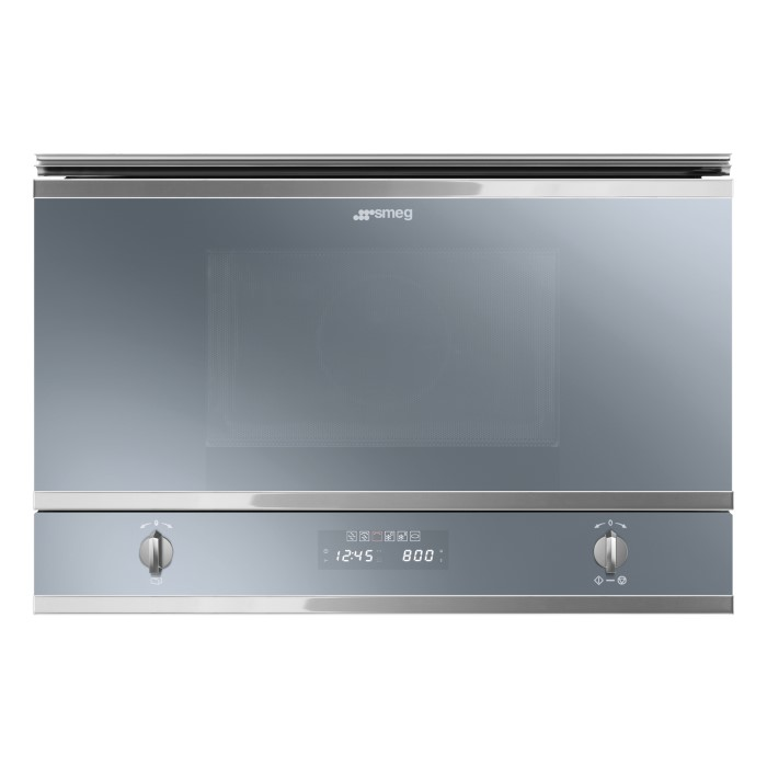 Smeg MP422S Cucina Built-in Microwave Oven And Grill - Silver Glass ...