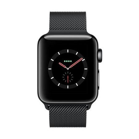 Apple Watch Series 3 GPS + Cell 38mm Space Black Stainless Steel Case with Space Black Milanese Loop
