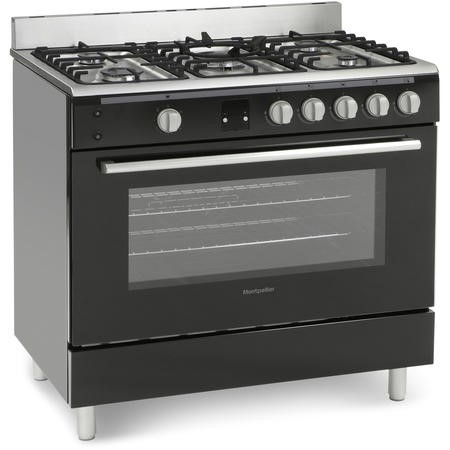 Montpellier MR90GOK 90cm Gas Single Oven Range Cooker Black