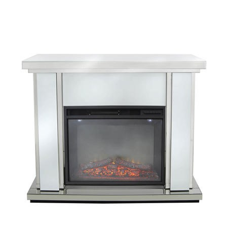 Aurora Boutique White Mirrored Fire Surround with Fire Insert & Glitter
