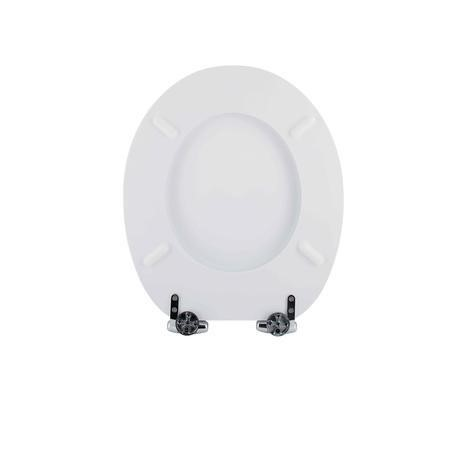 Standard Soft Close High Gloss White MDF Toilet Seat- Bottom Fix
