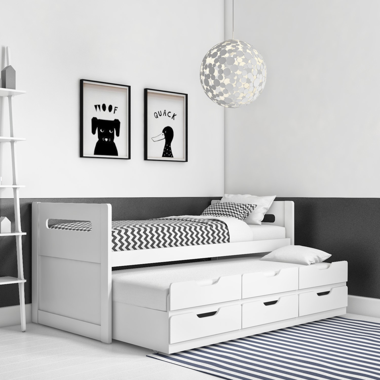 Guest Bed 3ft Single With Pull Out Trundle 3 Drawer Storage Drawers White 5056096010183 Ebay