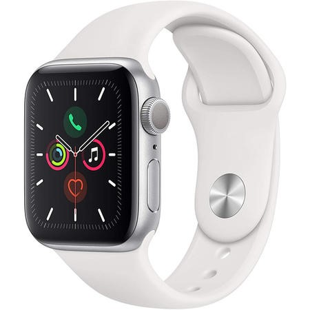 Apple Watch Series 5 GPS + Cellular 40mm Silver Aluminium Case with White Sport Band