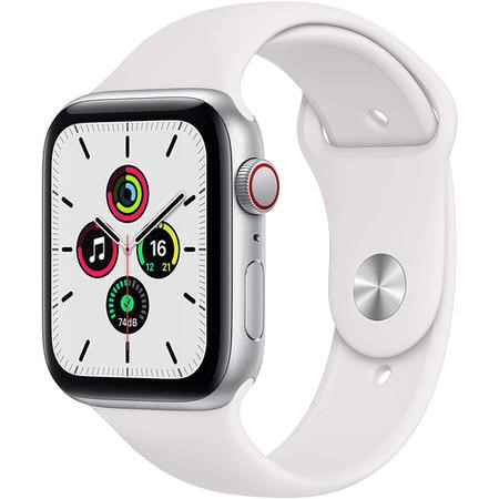Apple Watch SE GPS - 44mm Silver Aluminium Case with White Sport Band - Regular