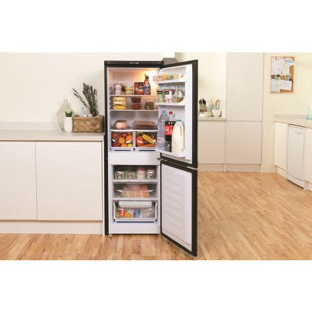 Indesit NCAA55K 157x55cm Freestanding Fridge Freezer Shiny Black