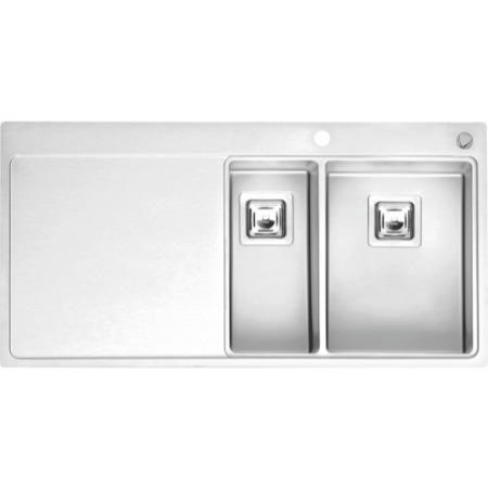 Reginox NEVADA18-30-LHD 1.5 Bowl Square Integrated Stainless Steel Sink With Tap Deck And Left Hand